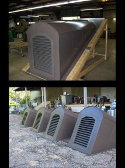 Custom metal dormers in factory