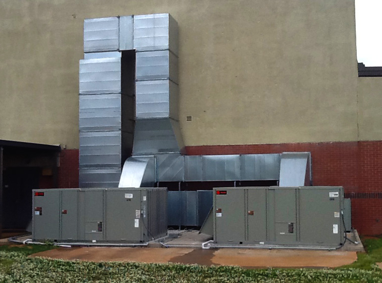 Twin commercial HVAC units